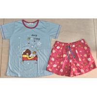 Baju Tidur Anne Claire HP BODYFIT (Geser Banyak Motif) - Biru Muda