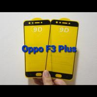 Tempered Glass Full Cover Oppo F3 + / F3 Plus 5D / 9D Anti Gores Kaca - Hitam