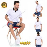 Kaos Polo Shirt Putih Kerah Hitam/Kaos Kerah Pria/Baju Kerah/Kaos Polo
