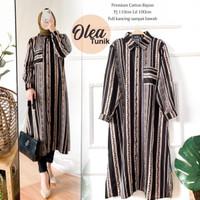 baju atasan blouse tunik wanita muslim/tunik terbaru/tunik rayon - OLEA BLACK, all size