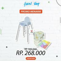 Paket Ikea Kursi Makan Bayi Blue + Informa Rainbow Towel Set 7 Pcs
