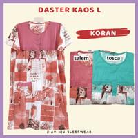 Daster Kaos Kancing All Size Fit L / Baju Tidur Wanita - Dst L-Koran, Salem