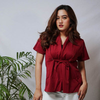 flowing tied top baju - maroon