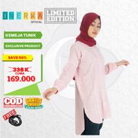 Kameja Tunik Muslim Baju Atasan ORIGINAL Bahan PREMIUM Wanita Pink - S