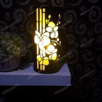 Lampu Hias Dinding / Meja / Lampu Tidur Handmade Ukir Bambu - Merah