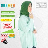 Kameja Atasan Muslim Baju Tunik ORIGINAL Bahan PREMIUM Wanita Hijau - S