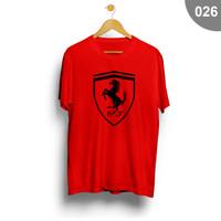 Kaos / Tshirt Pria Distro Anime Superhero Murah - Ferrari 026 - Merah, S lebar 46cm
