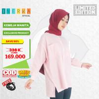 Kameja Atasan Muslim Baju Tunik ORIGINAL Bahan PREMIUM Wanita Pink - S