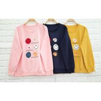 Kaos Long Sleeve Import Murah Wanita / Motif Emoji Flower - Big Size - Navy