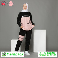 Setelan Olahraga Wanita Muslimah Baju Training Senam Yoga Gowes Lari - Vira, M