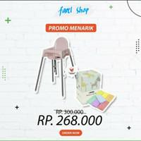 Paket Ikea Kursi Makan Bayi Pink + Informa Rainbow Towel Set 7 Pcs