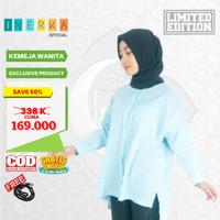 Kameja Atasan Muslim Baju Tunik ORIGINAL Bahan PREMIUM Wanita Biru - S