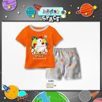 Baju Anak Perempuan Kaos Oranye Gambar Chicken Setelan Celana Pendek