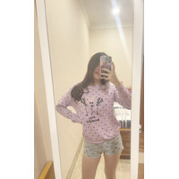 Kaos Long Sleeve Import Murah Wanita / Motif Balon Beautiful- Big Size - Navy