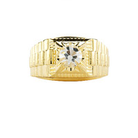 1901 Jewelry Cincin Pria Berlian Swarovski Watchband Lapis Emas