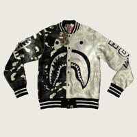 bape city camo shark varsity jacket GITD