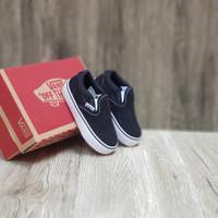 Sepatu Anak Unisex 1-3 tahun Vans slip On Black White size 20-27 - Black White, 26-27