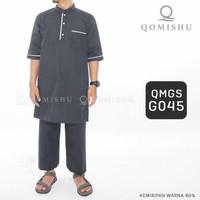 Setelan Baju Gamis Koko Kurta Pakistan Pria Cowok Polos QMGS - Abu-abu, XL