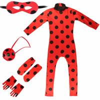 Baju Kostum Anak Setelan Ladybug Lady bug Cosplay Miraculous Set