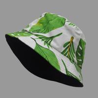 Topi Bucket Hat BucketHat Motif Monstera Hijau Putih Floral Adenia