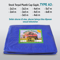 TERPAL PLASTIK A3 Ukuran 4X6 HARGA PABRIK MERK CAP GAJAH Rp. 4.400/M2