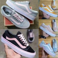 Sepatu Wanita Vans Oldskool Peach Grey Pink Black Yellow Tosca Green W