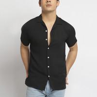VENGOZ Kemeja Pria Pendek Polos Cuban Shirt - Solid Black