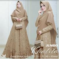 Gamis Syari / Baju Dress Wanita Muslim Khalila Jumbo Brukat + Hijab HQ