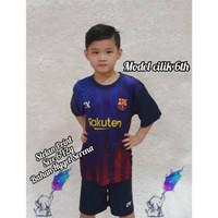 Stelan Bola//Baju Bola Anak Barca Printing Size S-M-L Usia 5-12 Tahun.