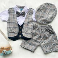 Baju setelan kemeja rompi celana pergi jalan casual anak bayi laki