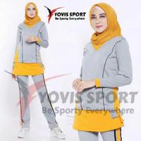 Setelan baju Senam Muslim jumbo panjang olahraga zumba aerobick wanita