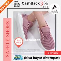 Sepatu Safety shoes sneakers pink wanita perempuan ujung besi ringan