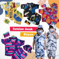 Setelan Piyama Lengan Pendek Katun Rayon Anak Cowok / Cewek 6bln - 5Th