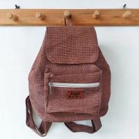 Tas Ransel Kecil Goni Sintetis / Tas Ransel Backpack - Coklat Titik