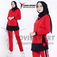Setelan baju Senam Muslim jumbo panjang olahraga zumba aerobick wanita - merah hitam, 5xl