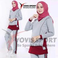Setelan baju Senam Muslim panjang kantong olahraga zumba aerobick cewe
