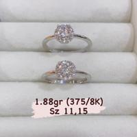 Cincin New Model Simple Round Diamond Look Emas Putih Kadar 375/8K