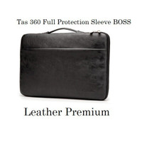 Laptop Asus ZenBook Pro Duo UX581 14 Tas Sleeve Genuine Leather Black