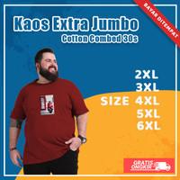 Kaos Baju Distro Oblong Pria Oversize Big Size Cotton Combed 30s Keren - Putih, XXL