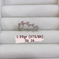 Cincin New Model Simple Leave Wave Polos Emas Putih Kadar 375/8K