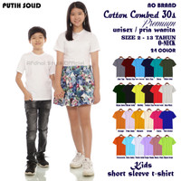 Fashion kaos baju polos anak laki pria cotton combed 30s 10 th pendek