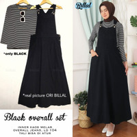baju gamis wanita remaja terbaru black overall set - Black overall
