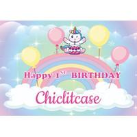 Custom backdrop unicorn pony pastel banner ulang tahun birthday