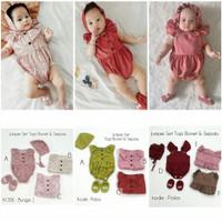 Baju Bayi Perempuan Jumper Set Topi Bonet Dan Sepatu