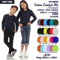 Kaos baju pakaian polos anak pria laki cotton combed 30s panjang 13 th - 2 Tahun