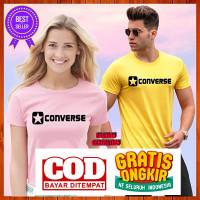 Baju Kaos Tshirt Distro Converse Pria Wanita Cewek Cowok Warna Putih - Pink, S