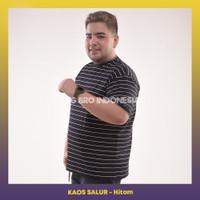 Kaos Salur Stripe Pendek Tshirt BigSize Pria BIG BRO Ukuran Besar XXXL - BLACK WHITE, XL