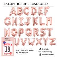 Balon Foil Huruf Rose Gold Jumbo / Balon Huruf 100 cm (Huruf R-Z) - Huruf R