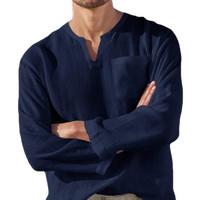 Baju Kemeja Pria Bahan Linen Shirt Pria S M L XL XXL XXXL 3XL 4XL 5XL - Sesuai Gambar, S