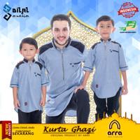 Baju Koko Kurta Pakistan Couple Ayah dan Anak Muslim Brand Arra Ghazi - Biru Muda, L Dewasa